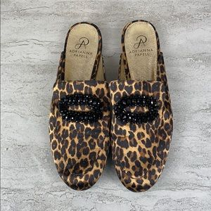 Adrianna Papell Leopard Print Mules